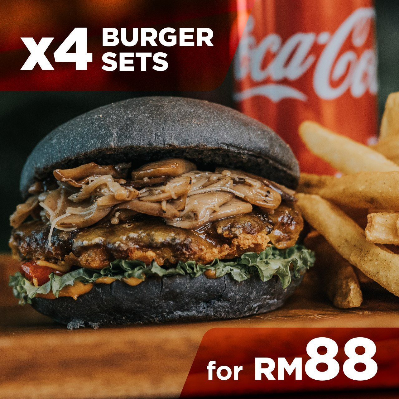4 Burger Sets For Only RM88 😎